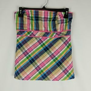 Lilly Pulitzer White Label Pink Trim Plaid Tube To